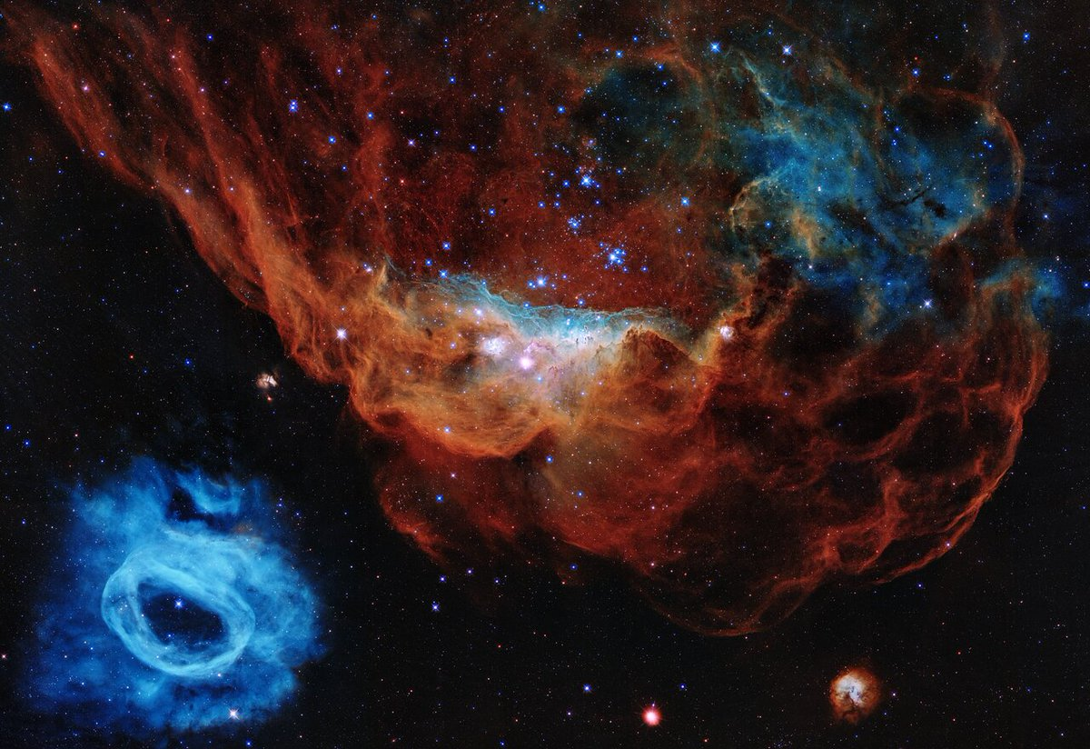 You have probably seen already the 30th anniversary image of #Hubble , but it is so gorgeous that it's good to see it again. The red nebula,NGC 2014, and its smaller blue neighbor,NGC 2020, belong to a star-forming region in the Large Magellanic Cloud, 163,000 light-years away. https://t.co/WOBjBgCjsW