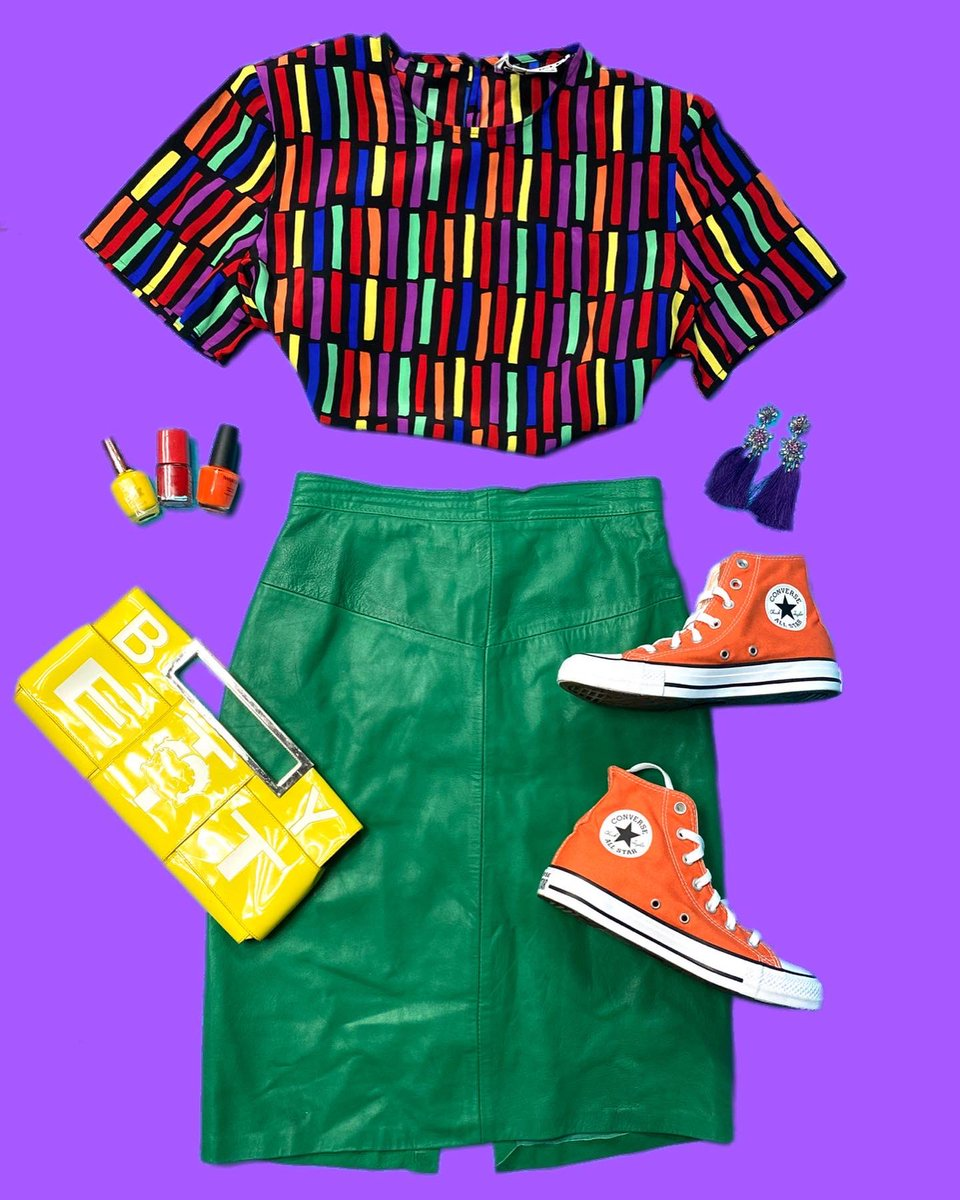Check out what we put together! Vintage rainbow blouse & Vintage Green leather skirt available online. https://t.co/RiNwkKAHsw #colourful #aesthetic #pride #rainbow #flatlay #ootd #trending #like #clothingbrand #fashion #twitterfashion #lookbook #style #outfitinspo #80sfashion https://t.co/Uz37doU2Jo