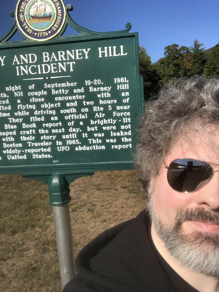 Trekked our to the Betty & Barney Hill Incident sign marker in Lincoln, NH today! 59 years ago tonight, the Hills may have been abducted by alien beings. You can read more about them on my Instagram post from the other day! #alienabduction #thehillabduction #bettyandbarneyhill https://t.co/pvKROHbrz5