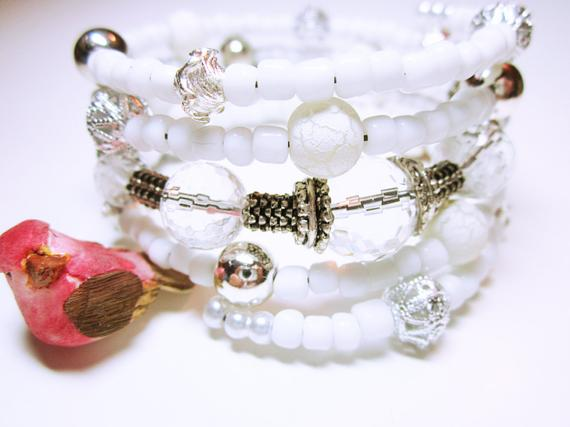 White Bracelet Wrap #Handmade Cuff Quartz Crystal Silver Accent Bracelet Beaded White Memory Bracelet #Gift Bracelet For Her #JEWELRY BRACELET #wrapbracelets #fashion #giftideas #style #giftforher #bracelets https://t.co/lvVryQ7WH7