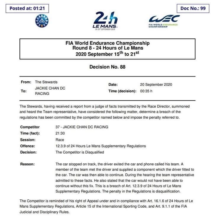 O incrível caso do carro desclassificado das 24h de Le Mans porque o piloto usou o celular para falar com a equipe em vez de se comunicar via radio para solucionar uma quebra, como prevê o regulamento. Que fase! #LM24 https://t.co/bj4LOv5NSX