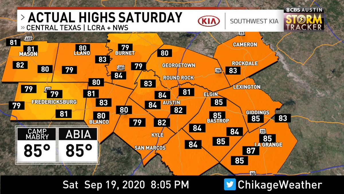 Highs today via @lcra & @nws for the @cbsaustin area. Forecast -> https://t.co/7Dainv4mOG #cbsaustinwx #atxwx https://t.co/LncqlynvEi