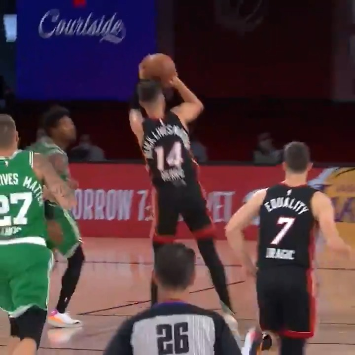 Herro 🔥 check... hes got 3 triples in Q2! @MiamiHEAT 36 @celtics 40 #NBAPlayoffs on ESPN