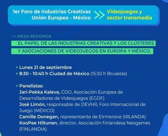 """#ForoIndustriasCreativasUEMX 🇪🇺🇲🇽  🙋🏻♂️🙋🏽♀️Participa en nuestra mesa redonda """"El papel de las industrias creativas y los clústeres y asociaciones de videojuegos en Europa y México"""" 🎮🕹  🗓 21 septiembre ⏰ 8:30 am 📋 Registro: https://t.co/SQRQR0YHOU #EUForeignPolicy #MéxicoCreativo https://t.co/JFQRtEUktc"""