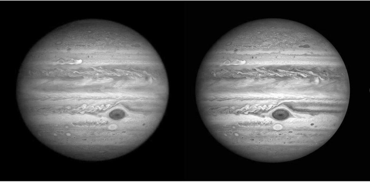 ハッブルの写真から、木星のステレオ写真つくってみた。  平行光用です。  #jupiter  #hubble  出典: https://t.co/VP1YtCL3WN  可視光画像のGreenチャンネルと、UV-Green-IR画像のGreenチャンネルを使いました。自転して撮影タイミングがズレているので、ステレオ視できます。 木星が丸く見えます。 https://t.co/XMVSRxrXx9