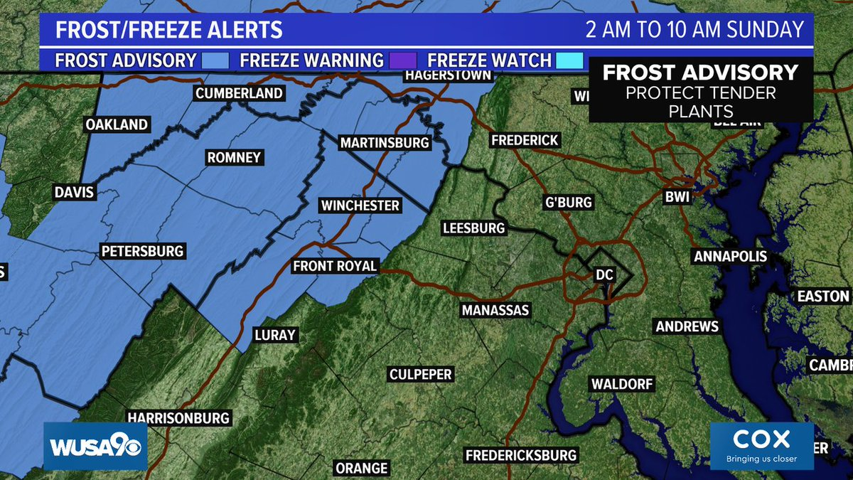 UPDATE: Frost advisory has been expanded slightly to the east. It still covers mainly areas west of the Blue Ridge on Sunday morning. Details---> https://t.co/KUHKNnr3Cp @wusa9 @hbwx @TenaciousTopper @MiriWeather #DCwx #MDwx #VAwx #WUSA9Weather #WashingtonDC https://t.co/0MDVzxjYNL