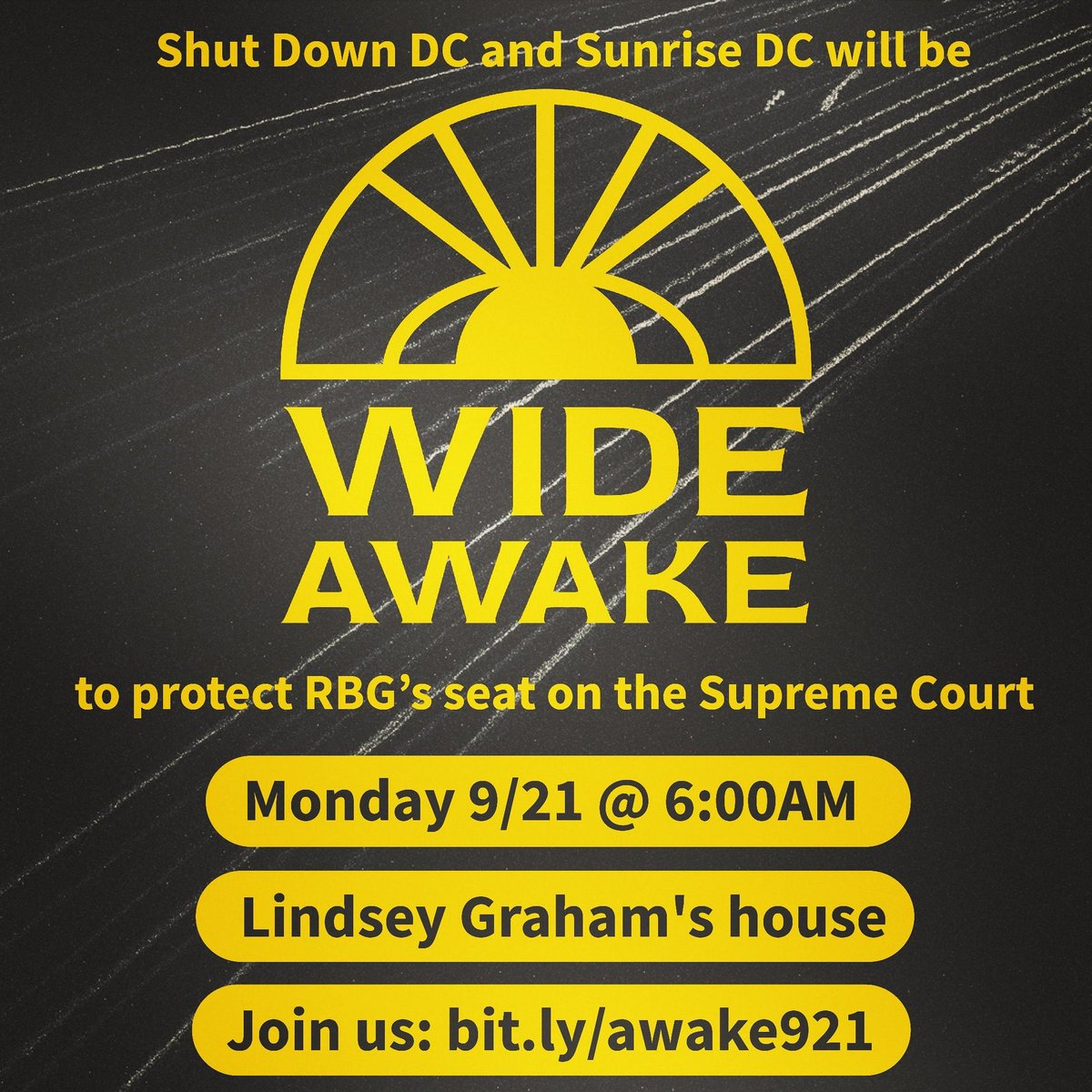 This weekend we mourn.  But on Monday morning we will make sure @LindseyGrahamSC is #WideAwake to the hell we will unleash if he & the GOP try to steal #RBG's seat on the Supreme Court.  JOIN US: https://t.co/GLiiFnhcH7 https://t.co/WIty66YG7z