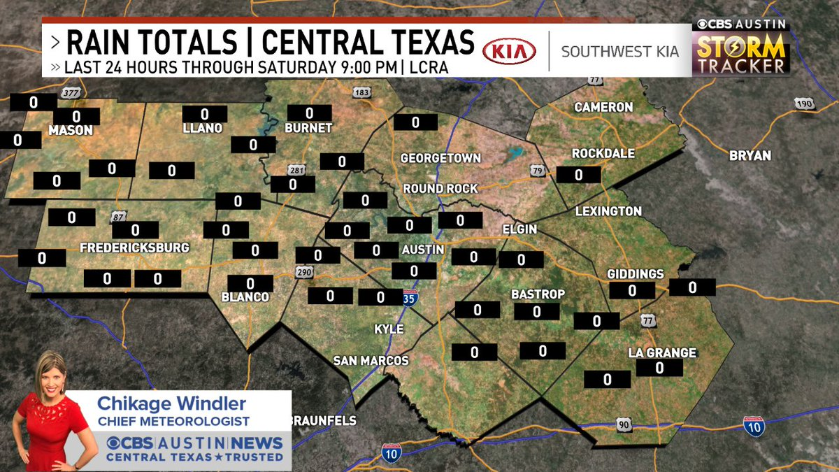Here's a look at LCRA rain totals over the last 24 hours for the @cbsaustin area. Radar -> https://t.co/ePJXLoI56j | Forecast-> https://t.co/7Dainv4mOG #cbsaustinwx #atxwx https://t.co/jV0BUy4nDr