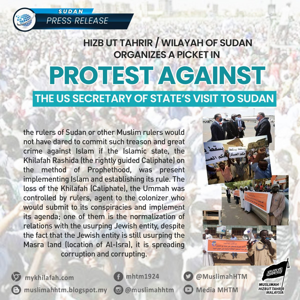[Press Release- #SUDAN]  Hizb ut Tahrir Wilayah of Sudan Organizes a Picket in Protest Against the US Secretary of State's Visit to Sudan  Ustath Muhammad Jami' (Abu Ayman), Assistant Spokesman of Hizb ut Tahrir / Wilayah of Sudan,..   Full Article: https://t.co/4qhhg2Nz17 https://t.co/F7zOqqNrqw