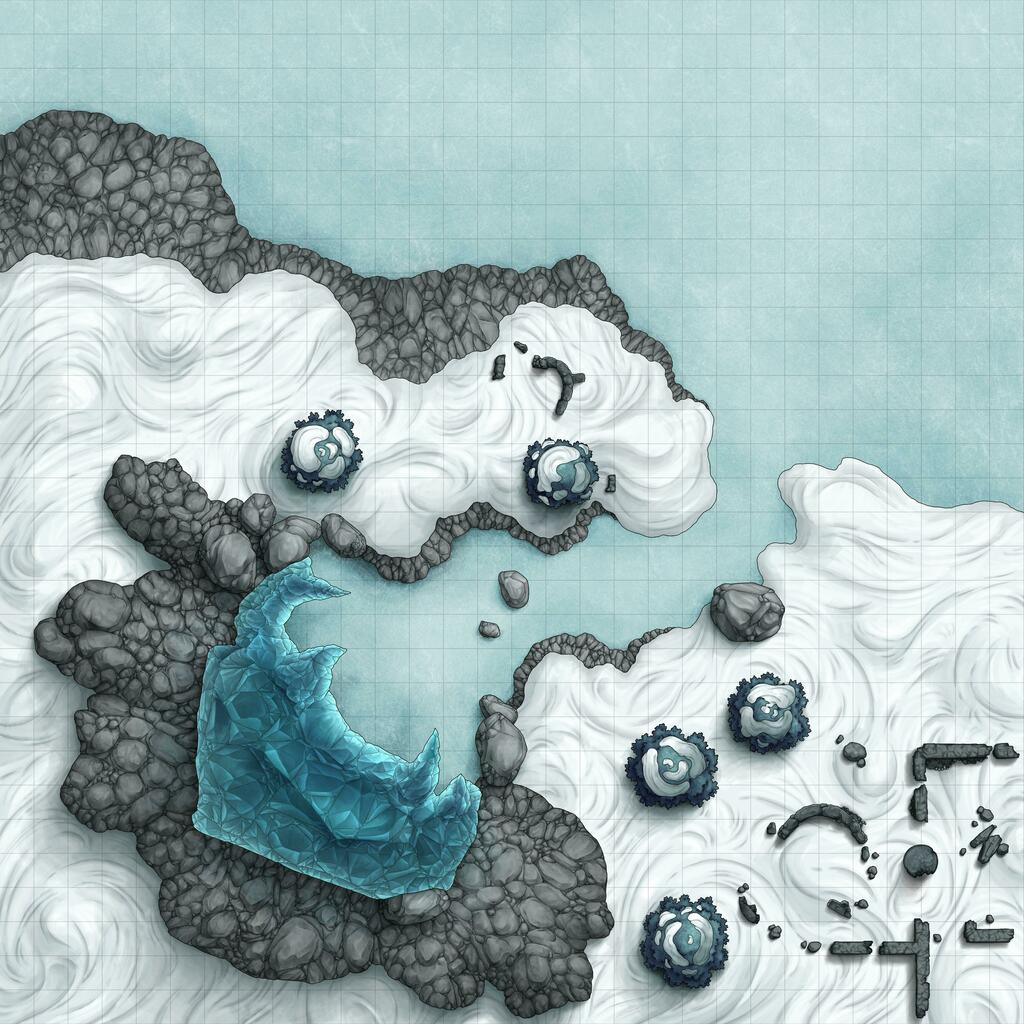 [OC] My frostmaiden-inspired map for an icy cave entrance, overlooking over a frozen lakeshore: via /r/DnD https://t.co/BxgtFi80zQ #DnD #rpg https://t.co/qilTR5McH9