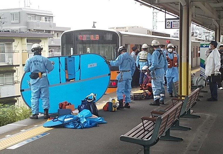 東武東上線の柳瀬川駅の人身事故現場の画像