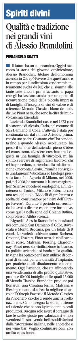 Oggi la mia rubrica nazionale sul quotidiano Libero è dedicata alle fatiche di Alessio Brandolini, giovane viticoltore di qualità umane e vinicole notevoli in Oltrepò Pavese. @a_brandolini https://t.co/euLxk7RUvQ