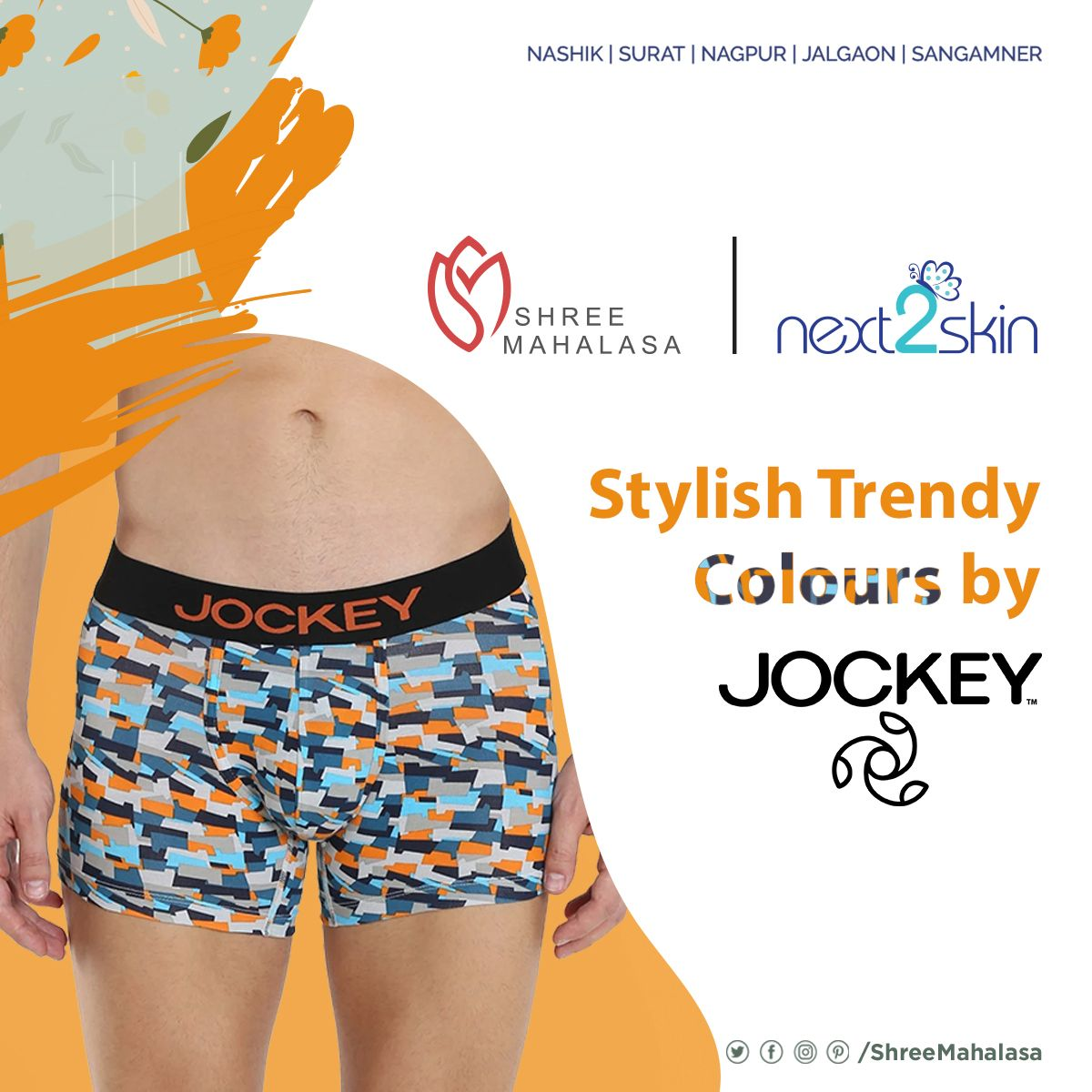 Spice it up with new and trendy coloured underwear by Jockey . . . . . #ShreeMahalasa #Next2Skin #VanHeusen #Briefs #Innerwear #underpants #Confort #Jalgaon #Nagpur #Surat #Nashik #Sangamner https://t.co/5J3kaCI1Mr