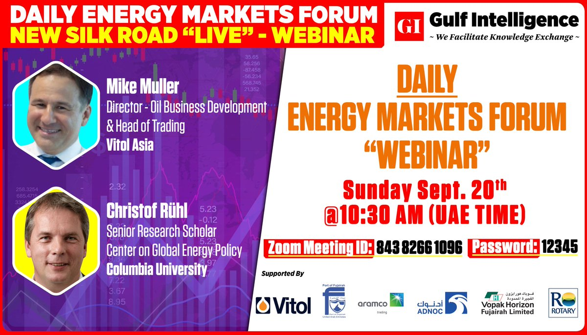 𝗪𝗘𝗕𝗜𝗡𝗔𝗥: Daily Energy Markets Forum - September 20th  To Register Click here: https://t.co/gDbOGMeoEQ To join via Zoom enter👇  Webinar ID: 843 8266 1096 PW: 12345  #OOTT #OilPrices #OPEC #energy  @vitolnews @CrystolEnergy @Columbia https://t.co/t5SY82KfvD