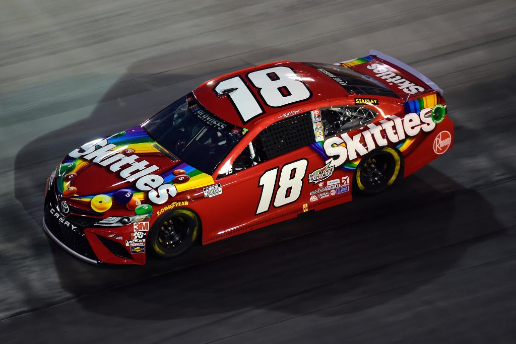 The championship defense continues! 🏆 @KyleBusch pilots his No. 18 @Skittles machine into the Round of 12.