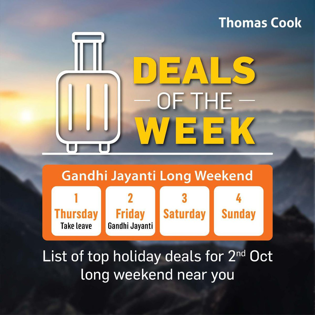 The long #weekend you were waiting for is here!  Give your self a much deserved break break with our Best 'Deals of the Week' long Weekend #Holiday packages starting @ Rs.4 255.00  To Book Now click here https://t.co/iUayYvs66P https://t.co/YgElRToteK