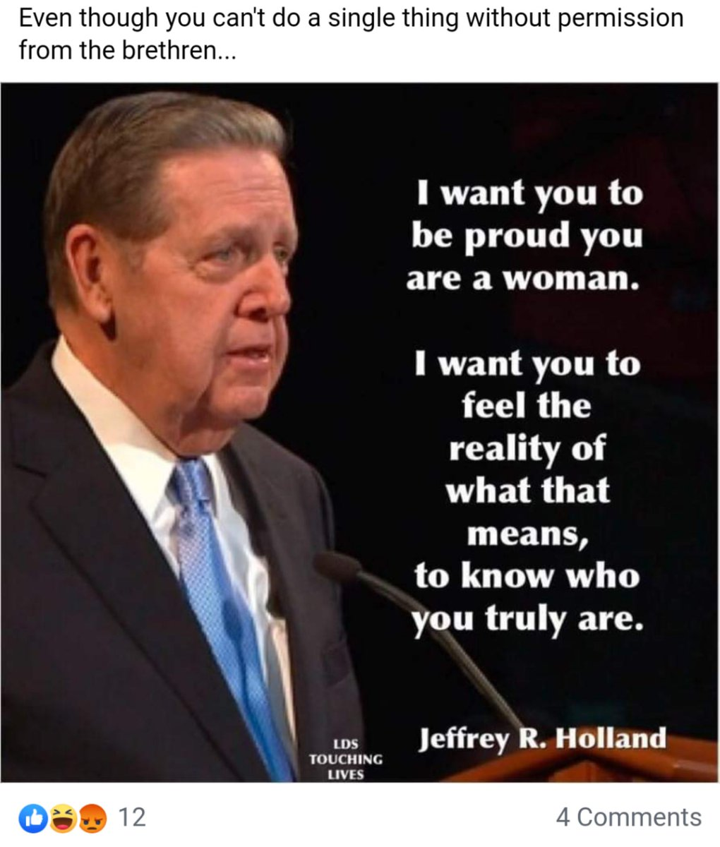 @HollandJeffreyR it's called manipulation. You aren't honest with people, not when you won't have equality for women members too. @Ch_JesusChrist @LDSchurch #church #equality #EqualityForAll #EqualRights #utah #Feminism #women #lds #mormon https://t.co/3CEYSFe5Qb