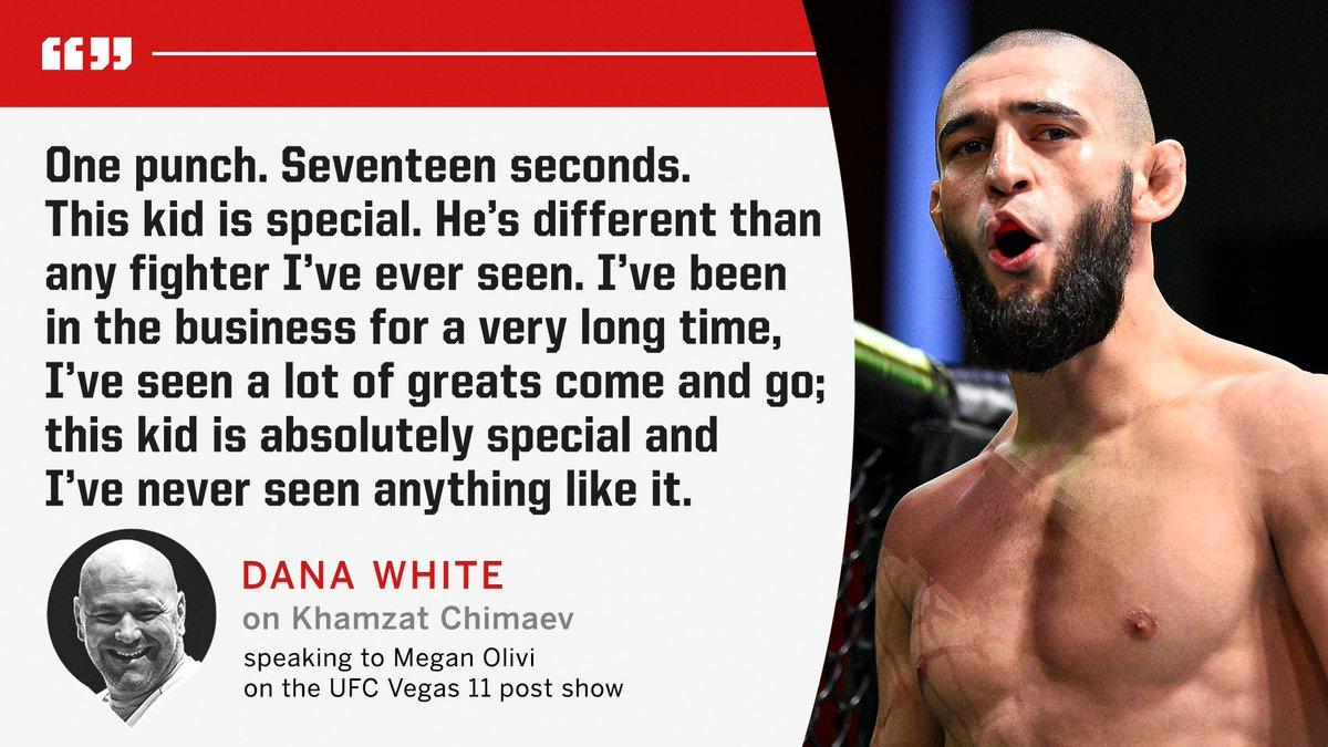 #RT @espnmma: Dana White had some high praise for Khamzat Chimaev after #UFCVegas11 📈  (via @MeganOlivi) https://t.co/2aQa5ZvgGF