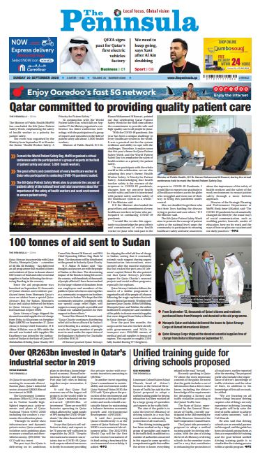 Read today's edition of The Peninsula (September 20) for latest updates on #Qatar #COVID19 #MiddleEast #Vaccine #Sudan #Healthcare  https://t.co/FV7gf2bB0r https://t.co/dd4sDTjnIS