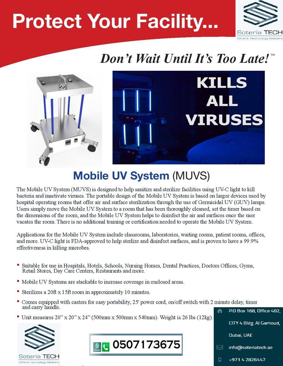 #Dubai #UAE #Corona #Virus #UV #sterilizer #US #AVTECH #SOteria #Virus #Hotel #Room #School #Covid #accomodation #College #institution #class #room #AIR #Surface #Germicidal #GUV #ultra #Violet #hotel #restaurant  Call/Whatsapp :- 00971-507173675 https://t.co/hCTuM8mD7g