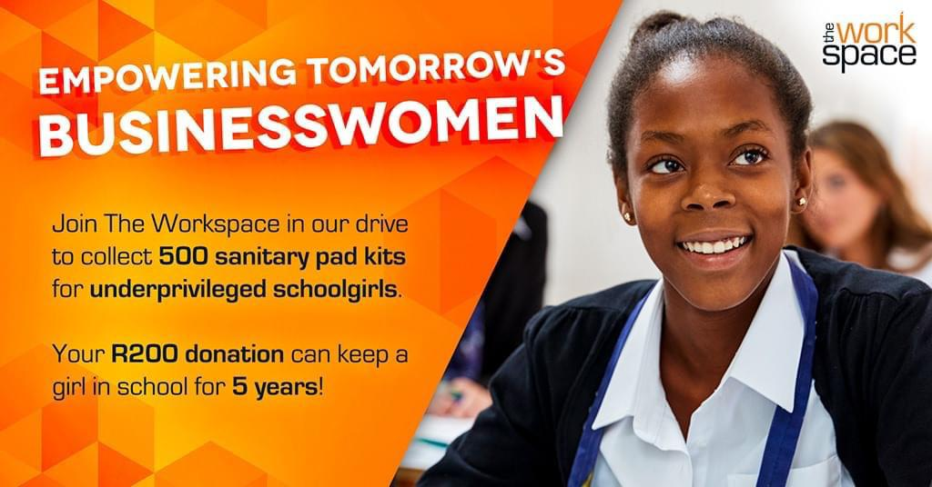 With Palesa Pads, The Workspace is aiming to collect 500-period packs for underprivileged school girls. Each pack lasts up to five years. To join the drive, simply visit The Workspace Melrose Arch and swipe to donate R200. Find out more: https://t.co/GHJGhkOqNG https://t.co/K4I8ZFMr0B