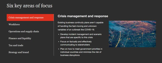 rt @MikeQuindazzi cc: @Antgrasso @Fisher85m  6 areas of focus for business #Leaders during this #Covid19 crisis >>> #PwC via @MikeQuindazzi >>> #HealthTech #IoT #AI #DataAnalytics #Covid_19 #CoronaCrisis #Leadership >>> https://t.co/uvb53Qi5we https://t.co/b67XSiAOYJ