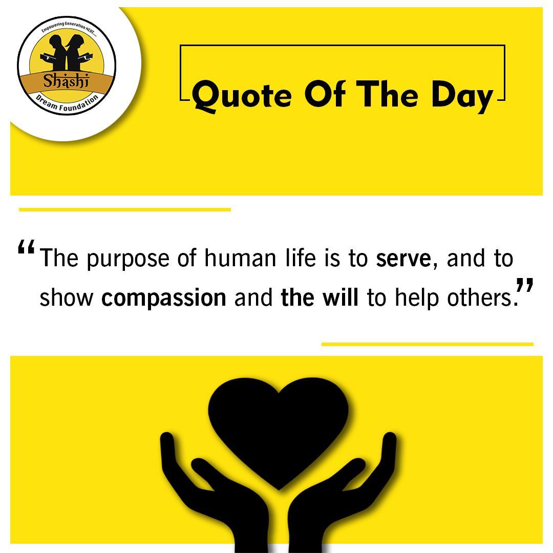 Quote of the day😇  #shashidreamfoundation #quotes #SundayThoughts #SundayMotivation #sundayvibes #children #education #student #socialwork https://t.co/x2U9kkvYSD