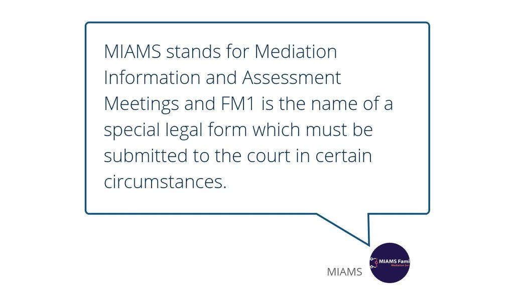 MIAMS and the FM1 were introduced by the Ministry of Justice.  Read the full article: What is a MIAM? ▸ https://t.co/hWwrU1b5dL  #CorrectLegalPermissions #SpecialLegalForm #AttendMiamsMeetings https://t.co/tXSomVaXpM