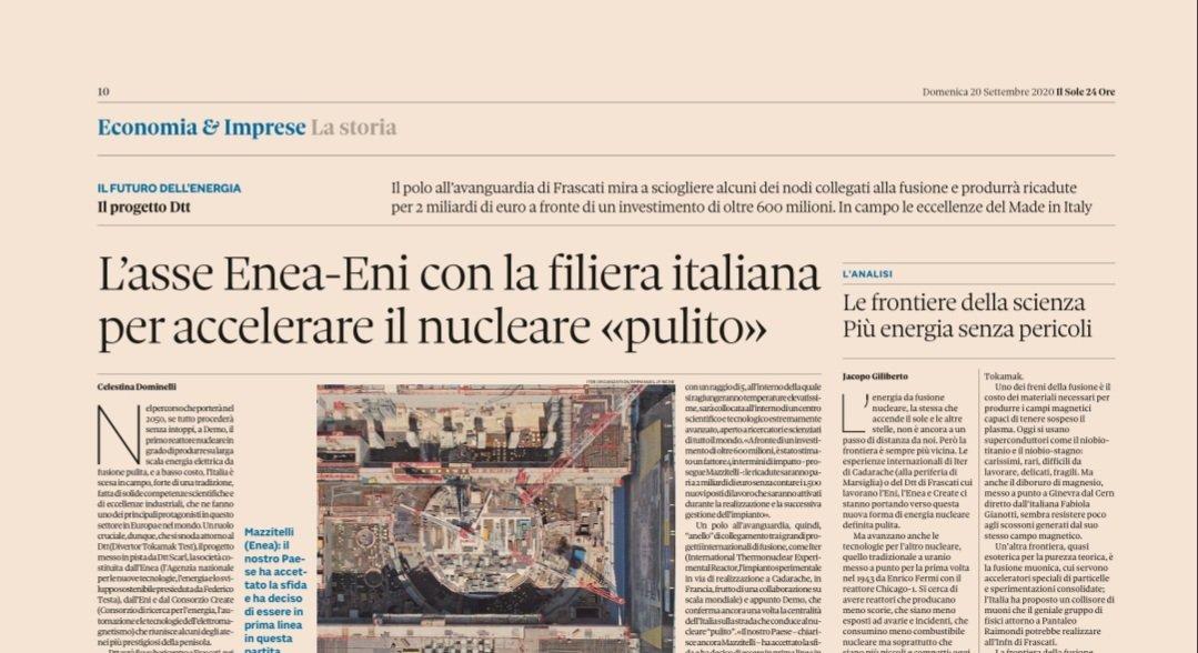 Volevamo raccontare una storia con @jacopogiliberto. E, alla fine, abbiamo scelto questa: l'Italia che scommette, con l'asse tra @ENEAOfficial e @eni, sul futuro dell'#energia. Che è un presente fatto di eccellenze nella #ricerca e nell'#industria #nucleare #fusione #dtt #iter https://t.co/15nTljpcAg