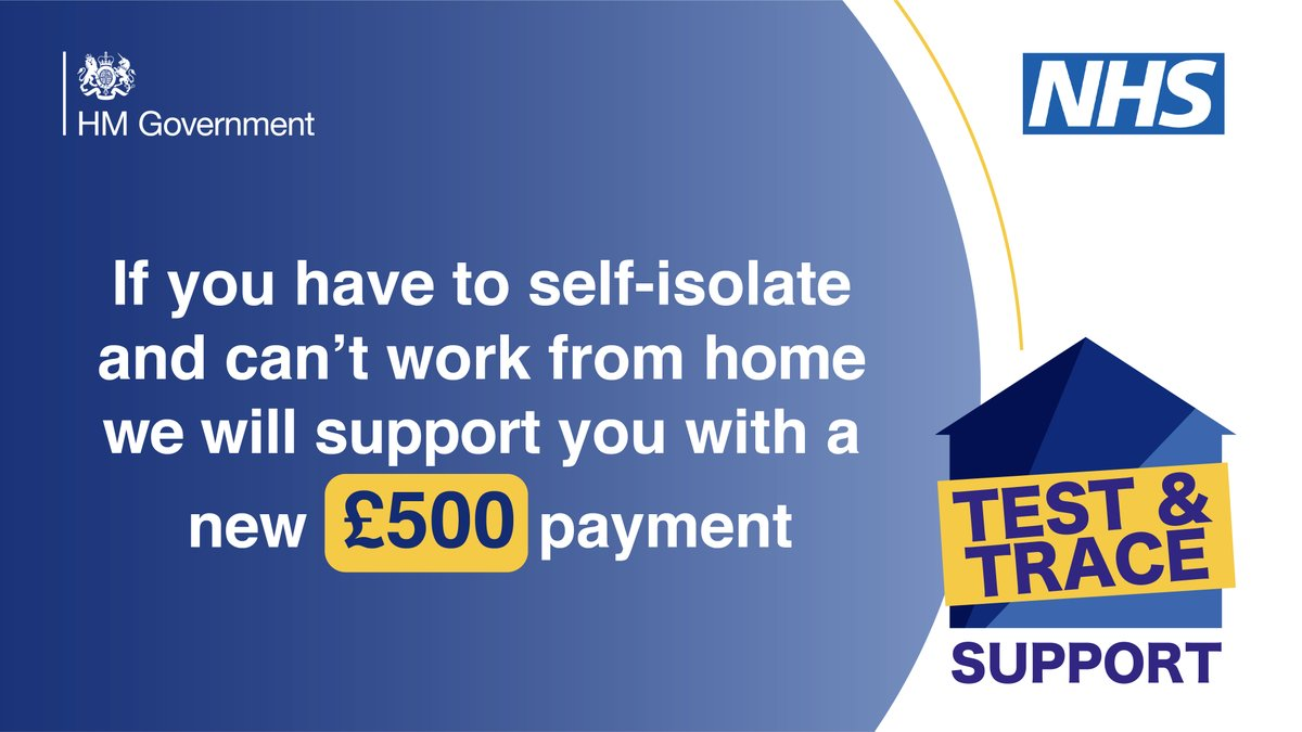 We're supporting people on low incomes who have to self-isolate and cannot work from home with a new £500 Test & Trace Support payment. gov.uk/government/new…