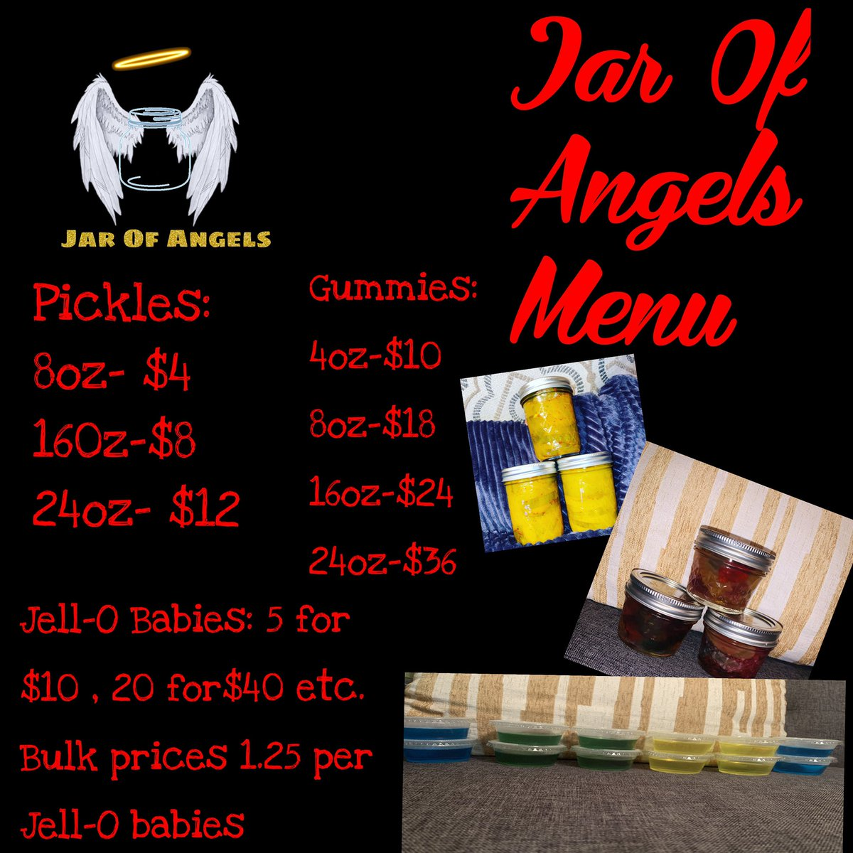 Heyy yall‼️‼️‼️  Go ahead and get place your orders today ‼️‼️  Everything is made the way you want it ‼️‼️ Be sure to place your orders on my website  https://t.co/bA50I4VFRm ‼️‼️‼️   #J.O.A. #wemail #jarofangels #infused #pickles #houston #houstoncandybuffets #houstongummies https://t.co/DWFCpVV8wv