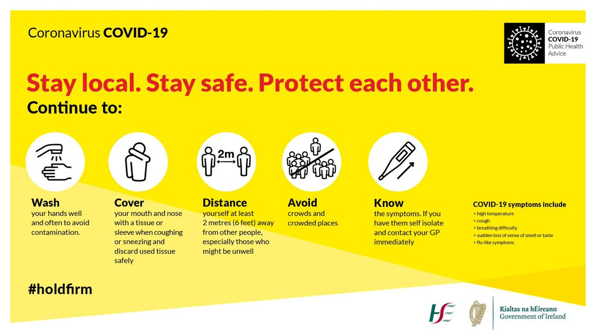 Protect yourself and others. Stay safe, remember the basics * Wash your hands * Cover your mouth when you cough/sneeze  * Distance from others * Avoid crowds * Know the symptoms  #holdfirm #staysafe #InThisTogether https://t.co/rttaNL8ezV