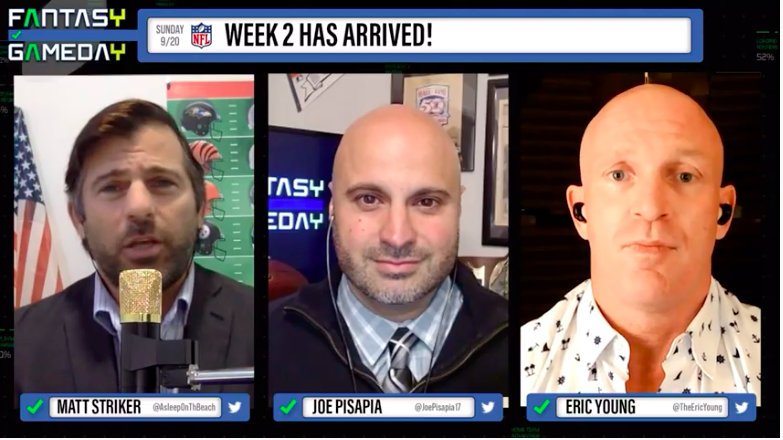 #FGD trifecta is LIVE!  Join @AsleepOnThBeach, @JoePisapia17 and @TheEricYoung NOW for Fantasy Game Day on https://t.co/1I58Vu5zEq! https://t.co/76MuldfYjj