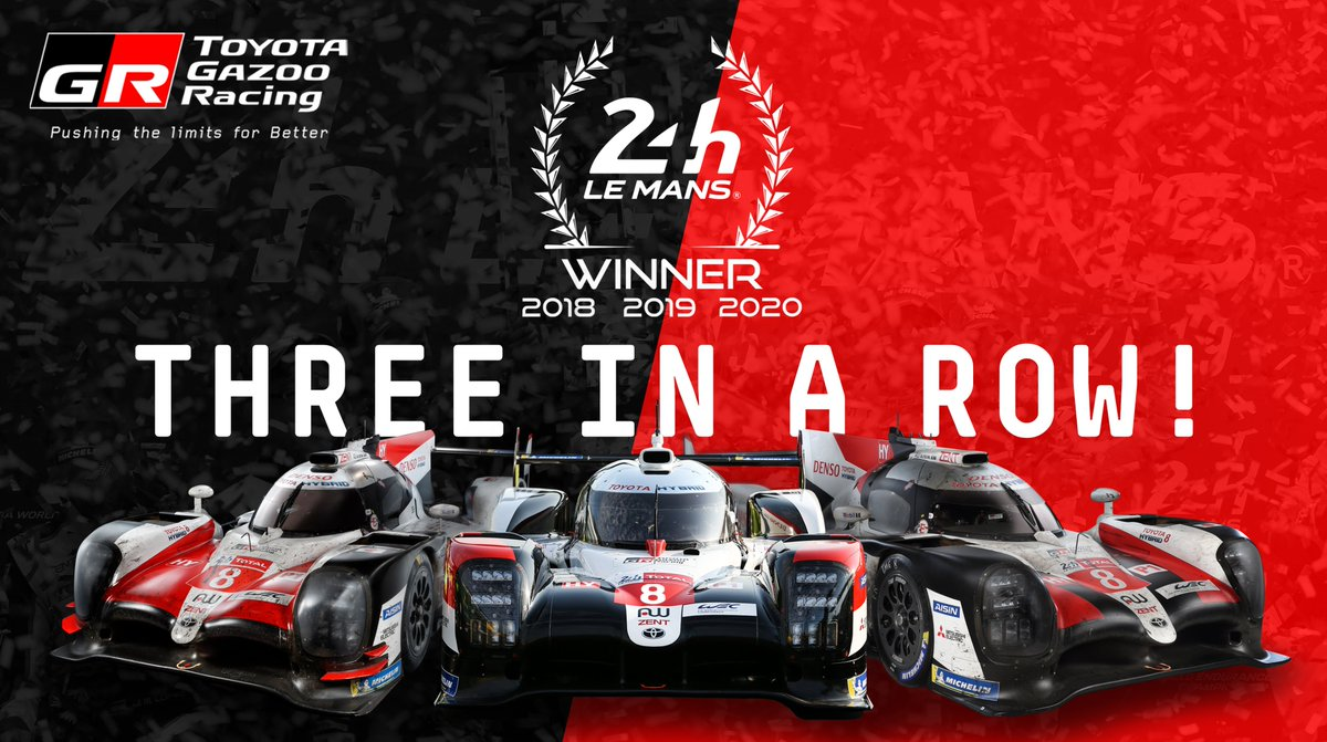 Three in a row for our TS050 HYBRID!! 🏆🏆🏆  It's #LeMans24 victory for our #8 car of @Sebastien_buemi, @kazuki_info & @BrendonHartley!! 🍾   #ToyotaGAZOORacing #PushingTheLimitsForBetter https://t.co/5Hi12S6Jee