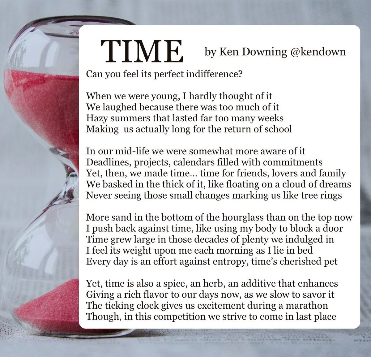 ☆ #ReadMeSpeakMe No.113 ☆ 20th September 2020 ☆   This week we are reading 'Time' by Ken Downing @kendown   Please include the #ReadMeSpeakMe hashtag in your tweet and announce the poem title and author in your recording. DM @ReadMeSpeakMe for the text version. https://t.co/wjXTwCJLWG