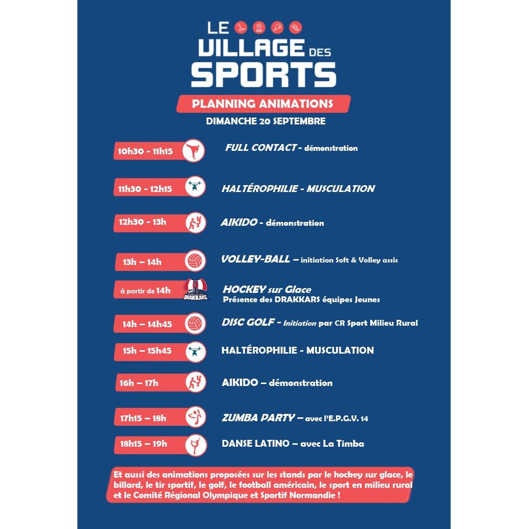 [ VILLAGE DES SPORTS ]  Retrouvez le village des sports sur la #FoiredeCaen  Ci-dessous le programme de la journée :   #FoiredeCaen #Sports @CrossNormandie #Volleyball #Zumba #Danse https://t.co/EIP1y6ksBc