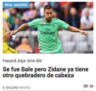 🗞️ Marca |  Después de la marcha de Bale, ni 24 horas le ha dado Marca al Real Madrid, para poner un nuevo objetivo donde sacar mierda.   Aparece como segundo tema del día en su portada. Parece ser que #MARCA no se ha enterado que hoy jugamos un partido de Liga.  Lamentable! https://t.co/hSe7hyAf1s