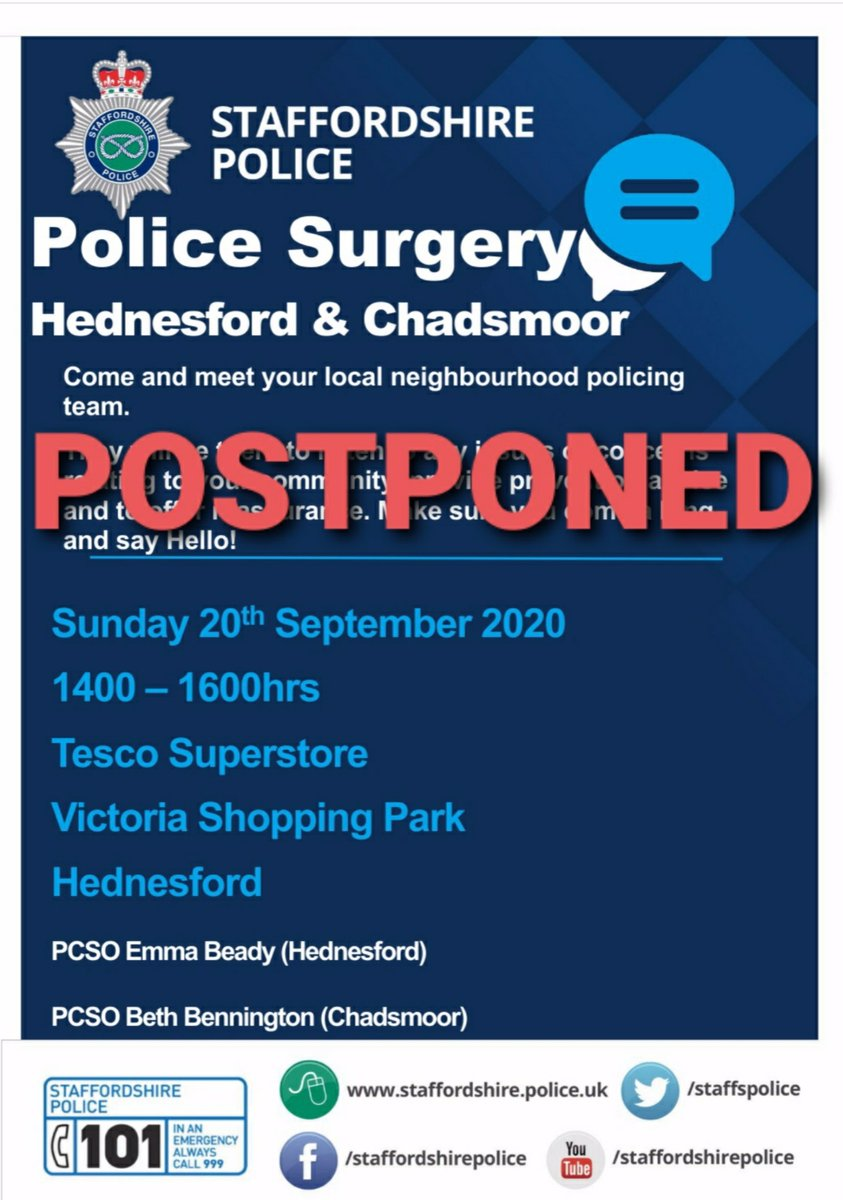 Due to unforeseen circumstances today's police surgery is now postponed. A new date and time will shortly be sent out 😊 https://t.co/8w112bmLjg