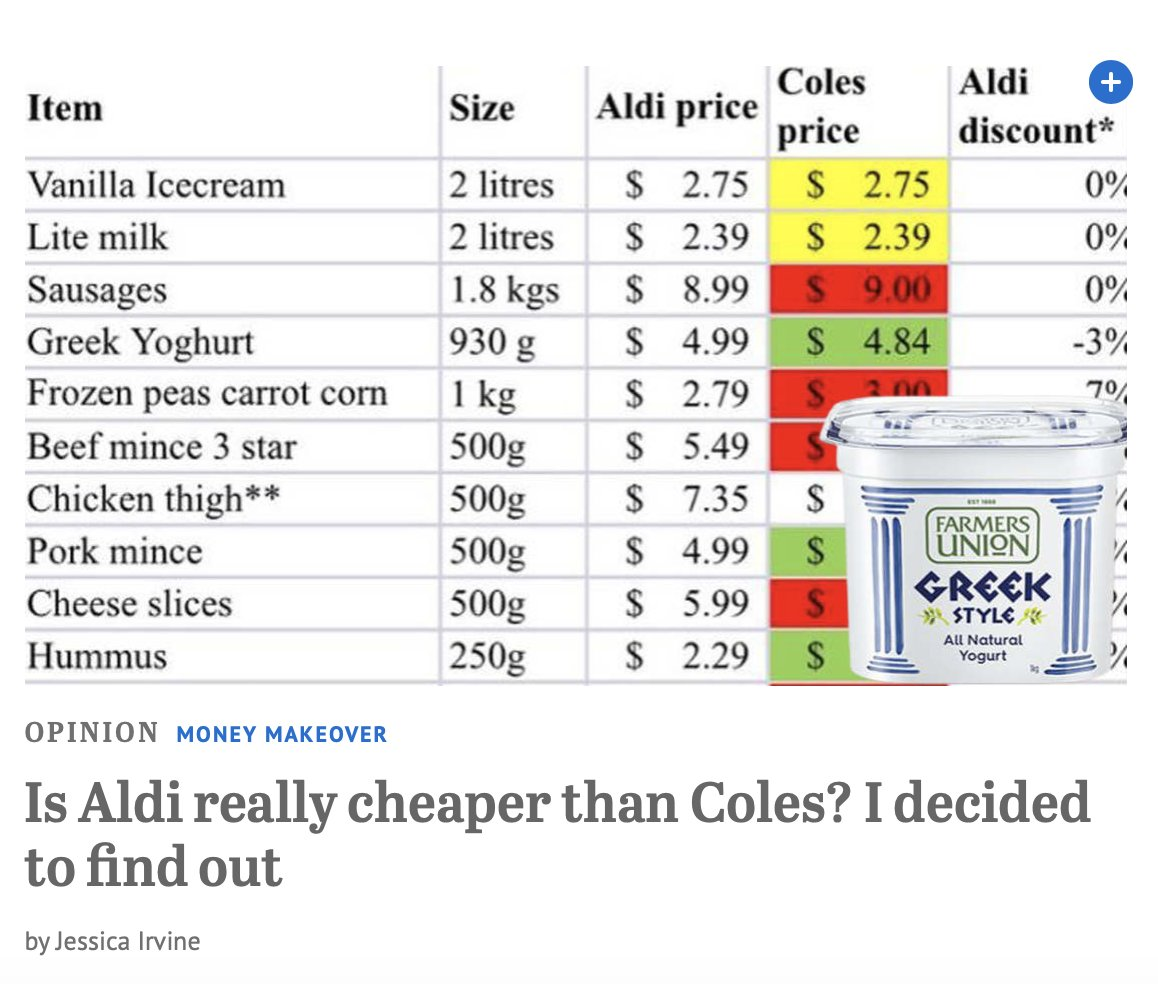 Wow - so glad there is nothing happening in the world so this fluff can be the head story @smh - Save you a click - yes, Aldi is cheaper.  I wonder if there is a back story behind this ad - I mean story. https://t.co/iN4nR8OBHV