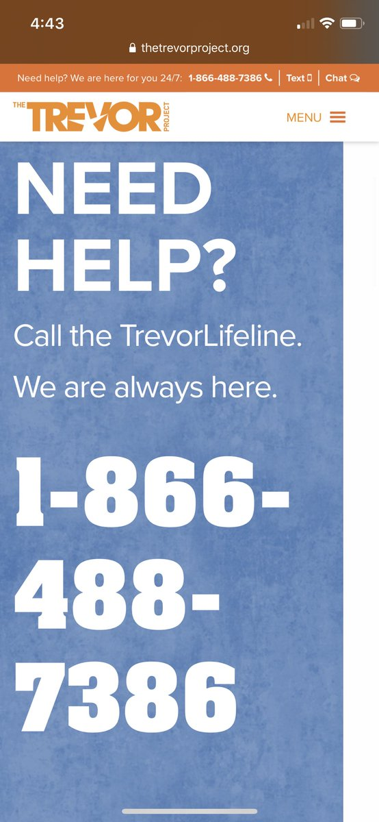 Just. You know. Gonna leave this here in case anyone needs it.  Please reach out if you're feeling low or feeling abandoned. #ThetrevorProject https://t.co/PiAzwO7cEv