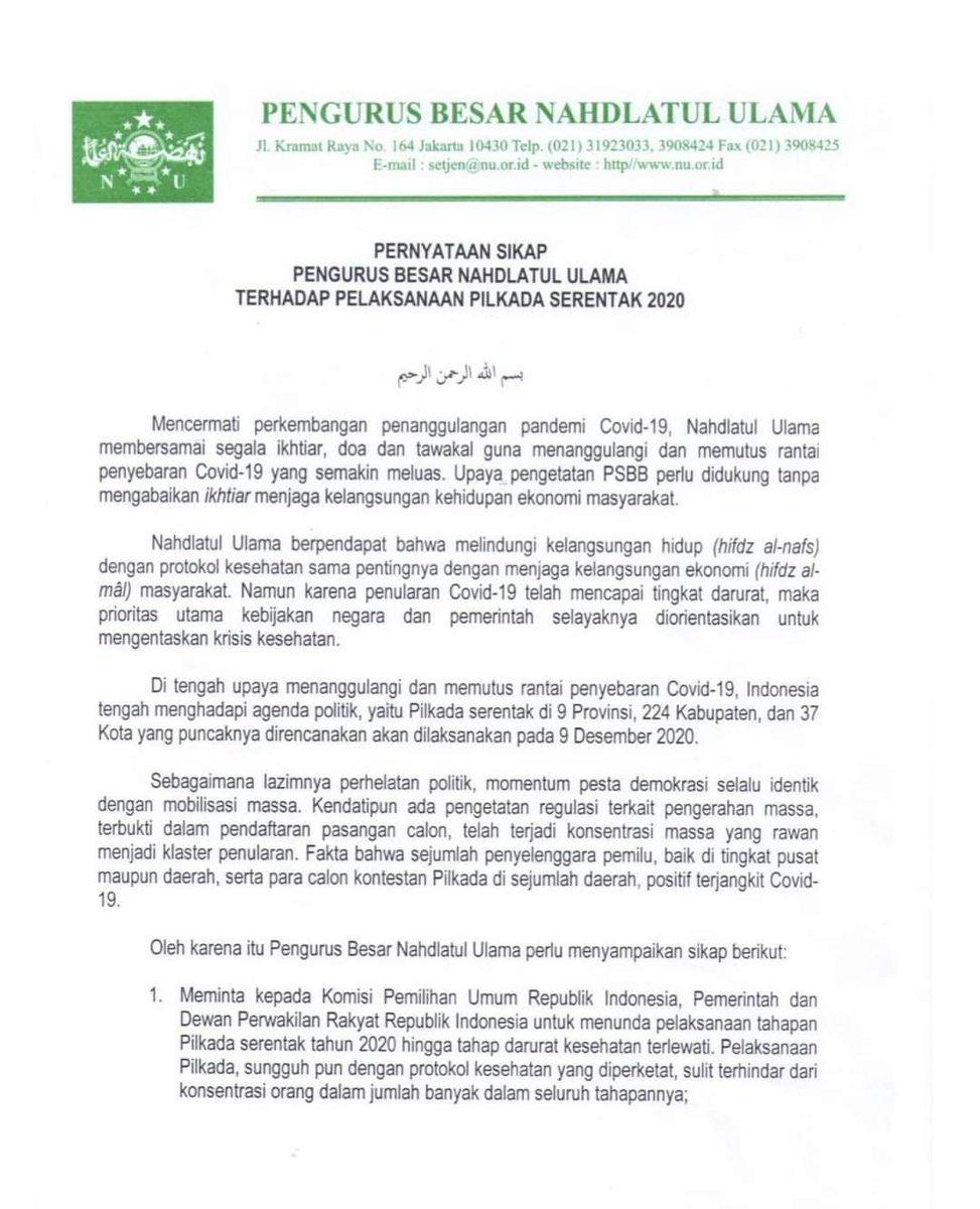 PBNU baru saja merilis pernyataan sikap berisi permintaan agar Pilkada ditunda. Saya setuju dengan sikap ini. Melaksanakan Pilkada pada saat pandemi sedang memburuk seperti sekarang, jelas bukan langkah yg tepat. https://t.co/XgXNzCDeaR