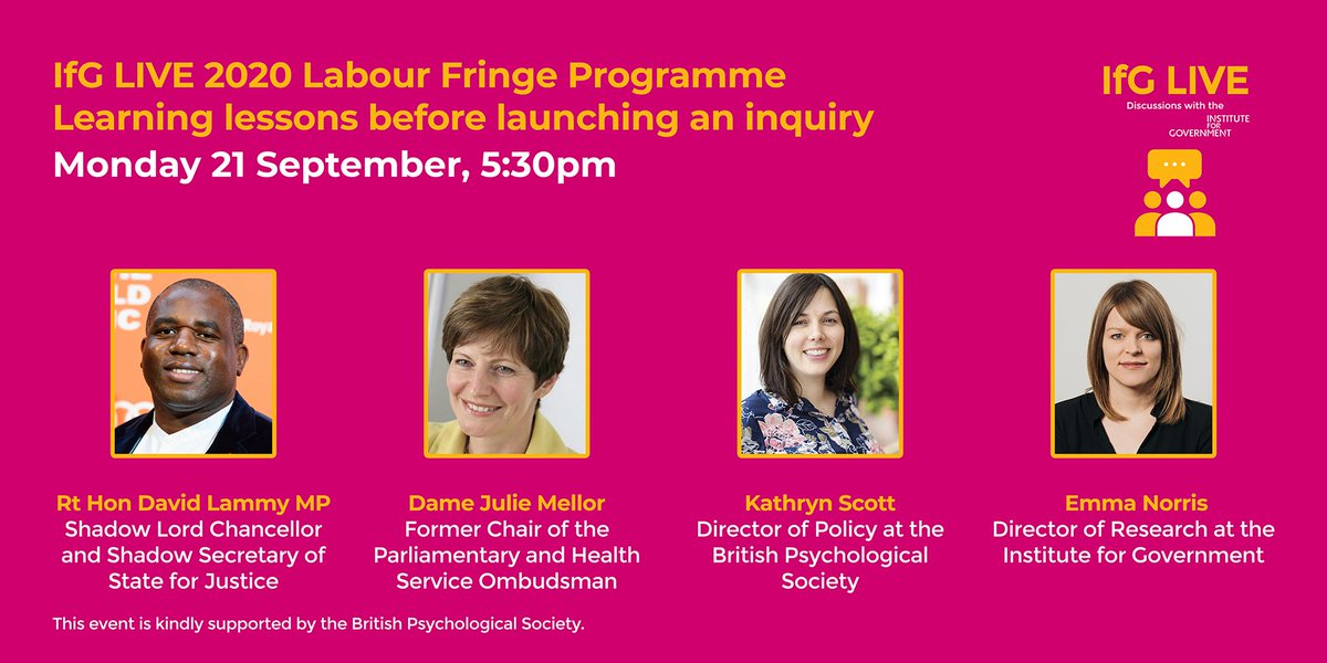 Join our Director of Policy @KathRawe for this @instituteforgov discussion about learning lessons ahead of an inquiry, with @DavidLammy & @julietmellor   What should the Government consider before the #Covid19 inquiry?  📅 Monday 21 September ⌚5.30pm 🔗https://t.co/imEhf0LVvY https://t.co/zEMDhlodTo