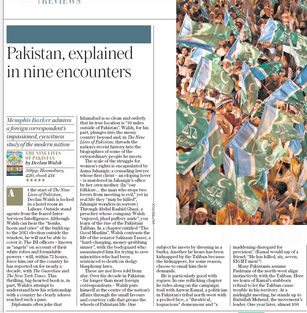 "Delighted with this generous 5* review of The Nine Lives of Pakistan in @telegraph by @memphisbarker, himself a former Pakistan correspondent. ""Particularly good with rogues,"" he says. I can hardly think of a higher compliment. https://t.co/2WYt0XNg33"