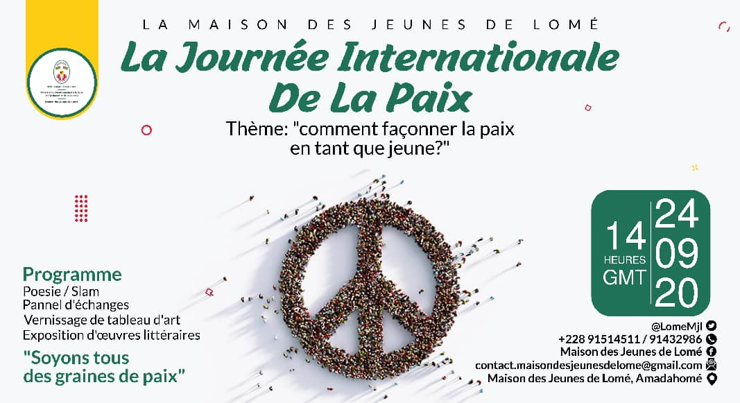 @LomeMjl célèbre la Journée Internationale de la Paix. Venons découvrir comment façonner la paix ensemble. @Devbase_Tg @TogoOfficiel @UN_Togo @PnudTogo @ojedd_global  @AhononKoffi @anvt_togo  @cnjtogo2008 @CnejTg #MJL  Suivez-nous aussi sur  Facebook: Maison des Jeunes de Lomé https://t.co/c6BLbv85xB