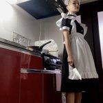 家事が捗らないのでメイド服を着てみたら?自分が坊主だったこと忘れてたww