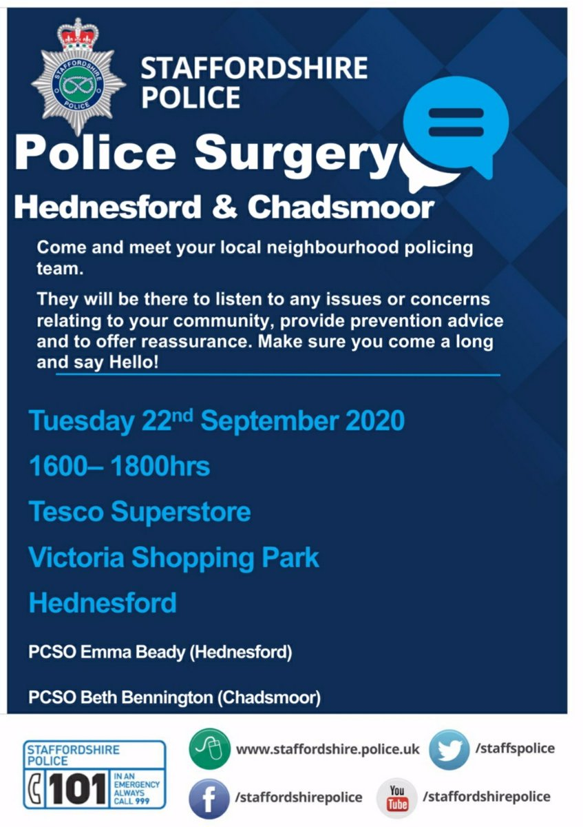 POLICE SURGERY RESCHEDULED 😊 we're happy to inform you that the Police Surgery for Hednesford and Chadsmoor has now been rearranged for Tuesday 22nd September between 1600-1800hrs. Look forward to seeing you 👌👮 https://t.co/YJg5CVl82u