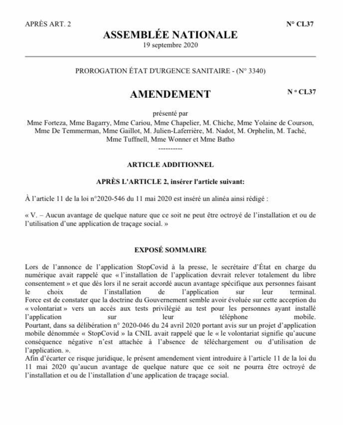 Un amendement similaire déposé par des députés @edsassnat (@PaulaForteza @M_Orphelin ...) pour inscrire dans la loi qu'aucun «avantage de quelque nature que ce soit ne peut être octroyé de l'installation et ou de l'utilisation d'une application de traçage social» #stopCovid https://t.co/HfqdtyRTg1 https://t.co/Sut1WB9FPB