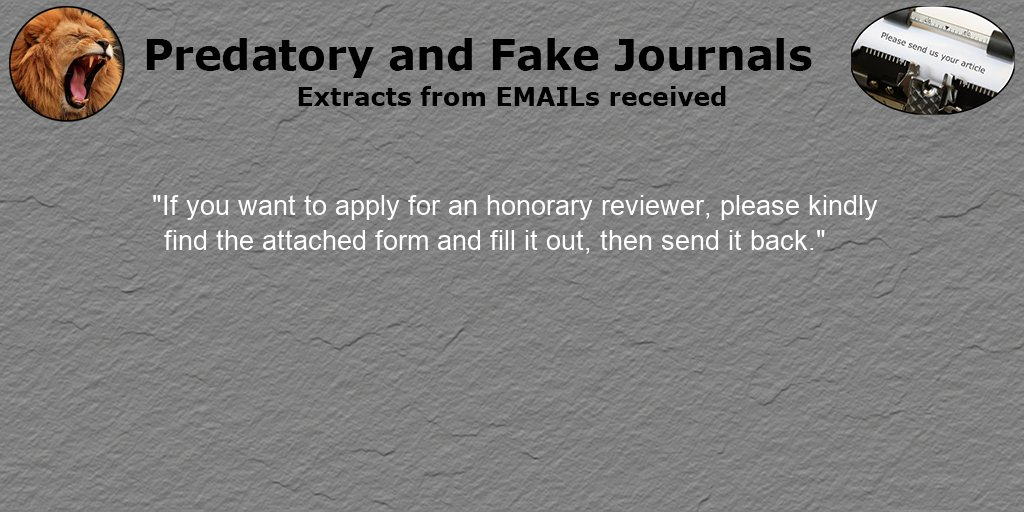 Appreciate anybody who has sent us emails from (potentially) #Predatory journals. We are always looking for more though. #PredatoryPublishing #PredatoryPublishingEmails https://t.co/wTNbnx1z9C [We are grateful to @Larry_Svenson for sharing this email] https://t.co/9wFr9sgqJi