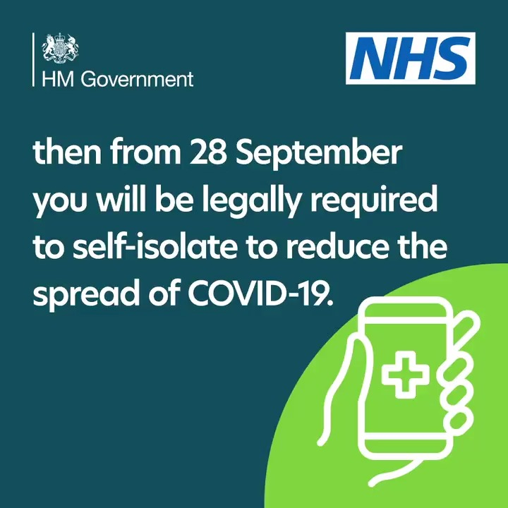 From 28 September people will be required by law to self-isolate, those breaking the rules face fines starting at £1,000, increasing up to £10,000. A £500 Test & Trace Support payment will be available for those on lower incomes who cant work from home. gov.uk/government/new…