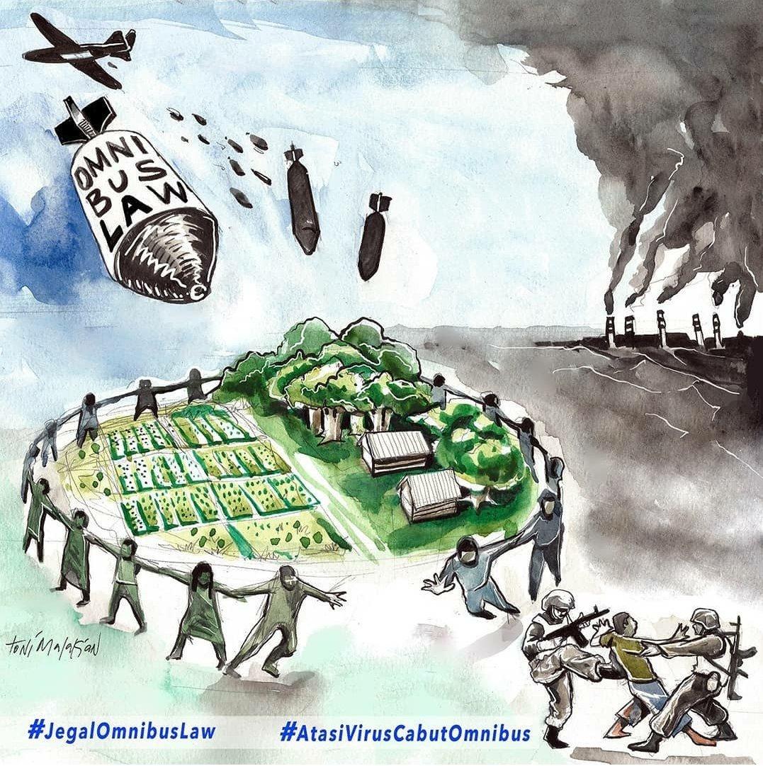Tolak dan jegal Omnibus Law. #JegalOmnibusLaw Ilustrasi oleh @tonimalakian https://t.co/seKJcfO2Nd